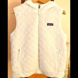 PATAGONIA Reversible Hooded White Birch Vest L